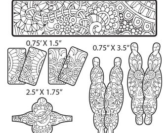 Combo Digital Pattern for Etching Floral Cuff Bracelet, Earring, Ring Download -cuff-combo-1
