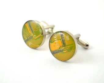 Circuit Board Cuff Links Yellow Circuit Board Jewelry