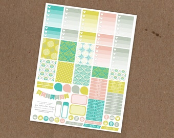 Printable Pastel Rococo Weekly Planning Sticker Kit- Ombre Check Boxes, Icon Stickers, Pattern boxes - ECLP, MAMBI Happy Planner, Filofax