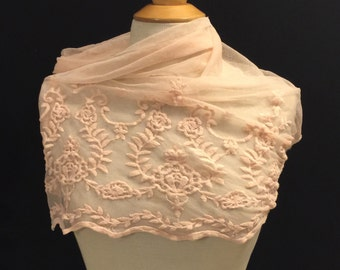 Embroidered Lace Fabric 1/2 Yard Remnant