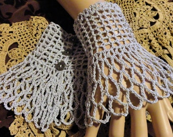 Grey Victorian Steampunk Gothic Crochet Lace Lace Wrist Cuffs Halloween Wiccan