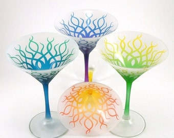 SUMMER SALE Martini Glasses - Strands - Set of 4 - Frosted - Custom Painted and Etched Glassware