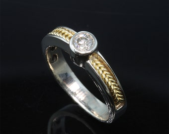 14K White Gold and 18K Yellow Gold Ring with 20pt Diamond by Cavallo Fine Jewelry