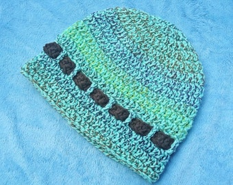 Teal Variegated Crocheted Baby Hat 6-12M