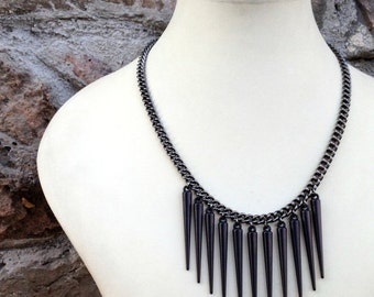 SUMMER SALE Long Black Spike Necklace Gunmetal Chain