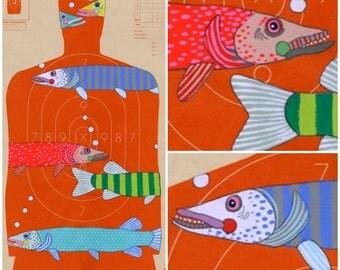 Fishing - Hand Painted Paper Shooting Target Art