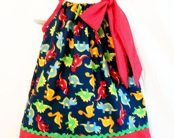 Toddler Girls Pillowcase Dress, Navy Dino Girls Dress, Girls Clothing, Handmade Dress