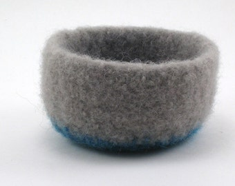 Wool felted bowl - wool ring bowl - small wool bowl - taupe gray and ocean blue