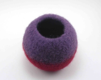 Wool felted bowl - bubble bowl - violet and burgundy