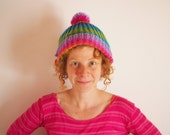 Rainbow Knit Hat with Pompom