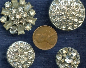 Vintage Rhinestone Buttons Lot of (4)  Different Silver Metal Crystal Clear 2436