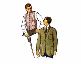 1950s Mens Single Breasted Blazer Jacket Vest McCalls 5051 Vintage Sewing Pattern Chest 42 Uncut