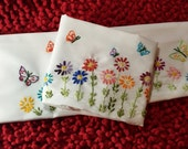 Hand Embroidered Pair (2) of Standard Size Pillow Cases with Multi Color flowers  and butterflies.