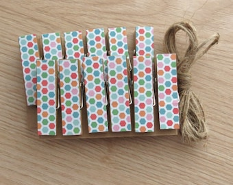 Rainbow Hexagon Honeycomb Chunky Clothespins w Twine for Display - Little Wooden Clips Set of 12 - Photo Studio