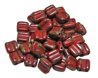Czech Tile Beads 6mm Opaque Red Picasso 2 Hole Groovy Tile Beads 40pcs (B403) 6mm Tile Beads || Czech Glass Beads