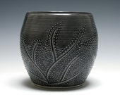 Small Charcoal Gray Bowl with Branch and Dot Design