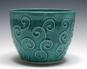 Persian Green Bowl with Swirling Vines