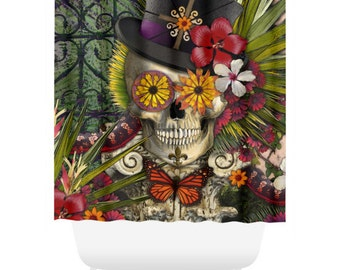 New Orleans Sugar Skull Shower Curtain - Botanical Skull Bath Curtain - Dia De Los Muertos Bathroom Decor - Baron in Bloom