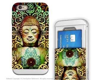 Tribal Buddha iPhone 6 6s Wallet Case - Heart of Transcendence - Colorful Buddha Credit Card Holder iPhone 6s Case with Rubber Sides