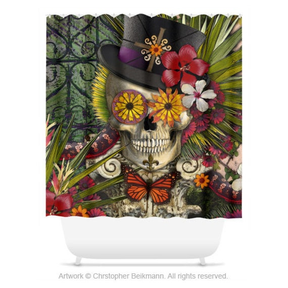 new orleans sugar skull shower curtain - botanical skull bath