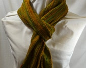 Hand Woven Scarf/Shawl - Merino Superwash and Silk with Hand Dyed Yarn, Beautiful Golds, Greens, Rust, and Brown
