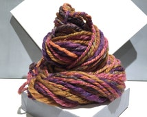 "Thick and thin yarn, Bulky Handspun yarn, ""Pastel Spring"", Violet, purple, orange, yellow gold, Green gold, pink, grey, pastel yarn"