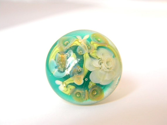 Rainforest Ring - Lampwork Glass and Sterling Silver