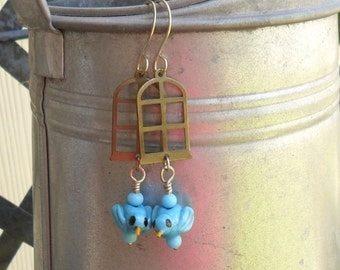 Blue Birds At The Window, Lampwork Earring Pair, Artisan handmade SRA Glassymom