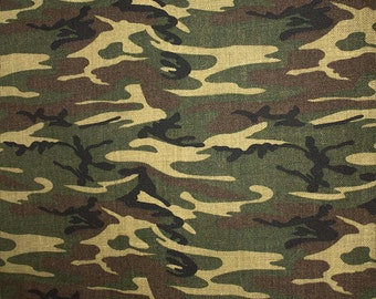 Sale Fabric by the yard - Burlap - 100% Jute - James Thompson - Camouflage