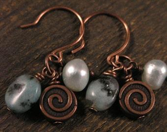 Blue opal stone, mint green freshwater pearls, antique copper handmade earrings