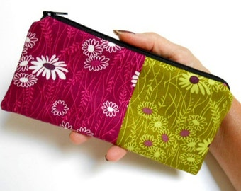 Zipper Pouch Smart Phone Pouch ECO Friendly Padded NEW SIZE Simply Wildflowers