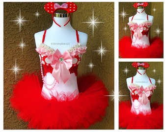 Pink Red Minnie Mouse Rave Outfit - Halloween Costume, Rave Bra, TuTu, Minnie Ears, Disney Rave Outfit, EDM Minnie Costume