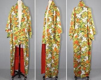 vintage kimono / silk robe / floral / NIGHT GATHERING silk kimono