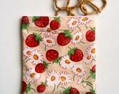 Strawberry Reusable Sandwich Bag, Reusable Snack Bag, Lunch Bag