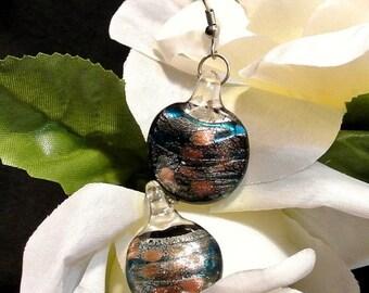 Back To School Glass Earrings, Black Glass Dangle Earrings, 1980s Iridescent Drop Earrings, Gift For Her, Christmas Gift