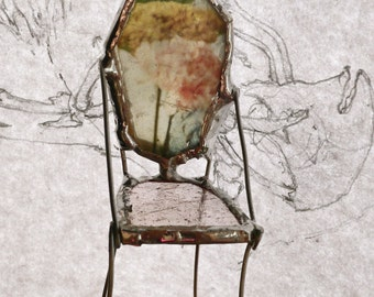 Miniature Art Chair - Poem of Flowers - One of a Kind Glass Chair - Heirloom Flowers