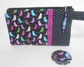 Black and Purple Wristlet with Birds Includes Beaded Zipper Pull and Pocket Mirror