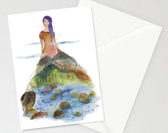 Greeting Card - The Vale - Mountains, Rivers, Forest, Eagle, Wilderness, Lady, American,  Nature, Watercolor Art Paintings