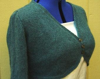 Slate Blue Knit Bolero Shrug, Angora blend yarn, size Large blue bolero shrug wedding formal prom slate knit sweater