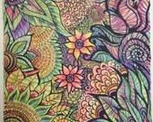 Zentangle Fluorescent Flowers Black Light Reactive 8x8 drawing