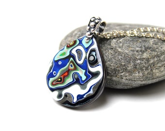 Detroit Fordite Necklace Recycled Vintage Auto Paint Teardrop Electric Blue Metallic Silver Medallion Sterling Red White Green Apple Hot