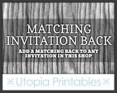 Matching Invitation Back - Add A Matching Back Design To Any CUSTOM Invitation In This Shop (Instant Download Invites NOT Eligible)