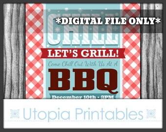 Winter BBQ Invitation Christmas Barbecue Theme Party Chill Let's Grill Cookout Holiday Digital Printable Modern Customized 5x7 DIY White Red