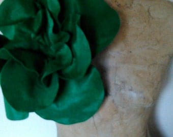 Formal Holiday  Dark Green Felt Over sized Rose Magnet Pin
