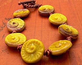 Nautilus Bracelet with Copper Beads, lime green jewelry, copper jewelry, earthy, boho, seashell jewelry, ammonite