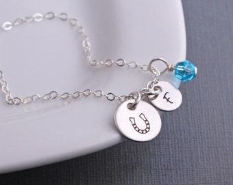 Personalized Horseshoe Necklace,  Horseshoe Jewelry, Silver Horseshoe Charm Necklace with Initial Charm
