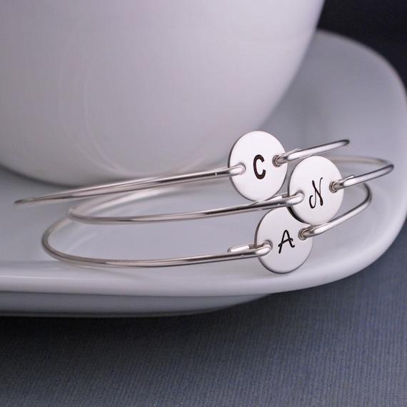 Bridesmaid Bracelet THREE, Bangle Bracelet, Personalized Bridesmaid Jewelry Gift, Custom Sterling Silver Initial Bangle Bracelets