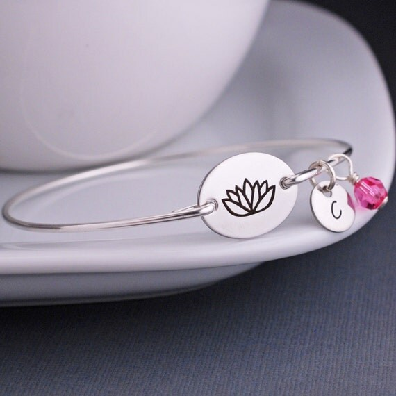 Lotus Jewelry, Lotus Bracelet, Lotus Blossom Flower Bracelet, Bangle Bracelets Personalized, Yoga Jewelry