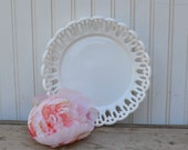 Milk Glass Bowl Open Lace - Royal Hill Vintage
