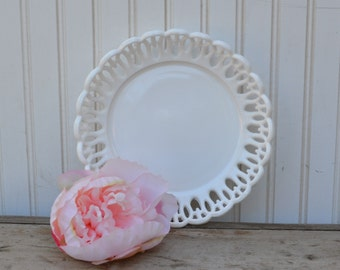 Milk Glass Bowl Open Lace - Royal Hill Vintage